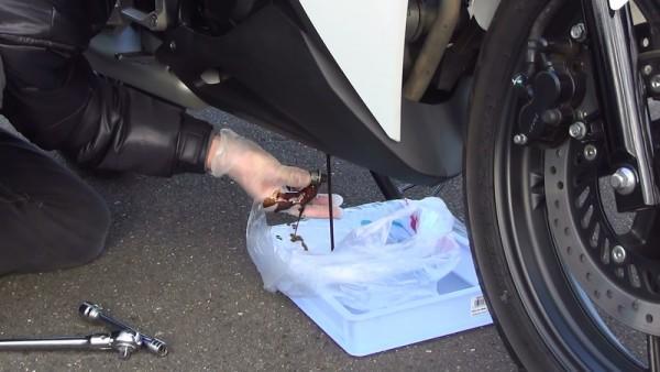 ドレン外す2(1) エンジンオイル交換 バイク
