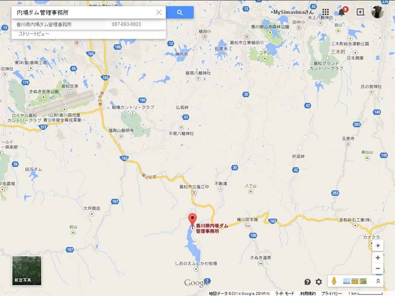 内場ダム地図
